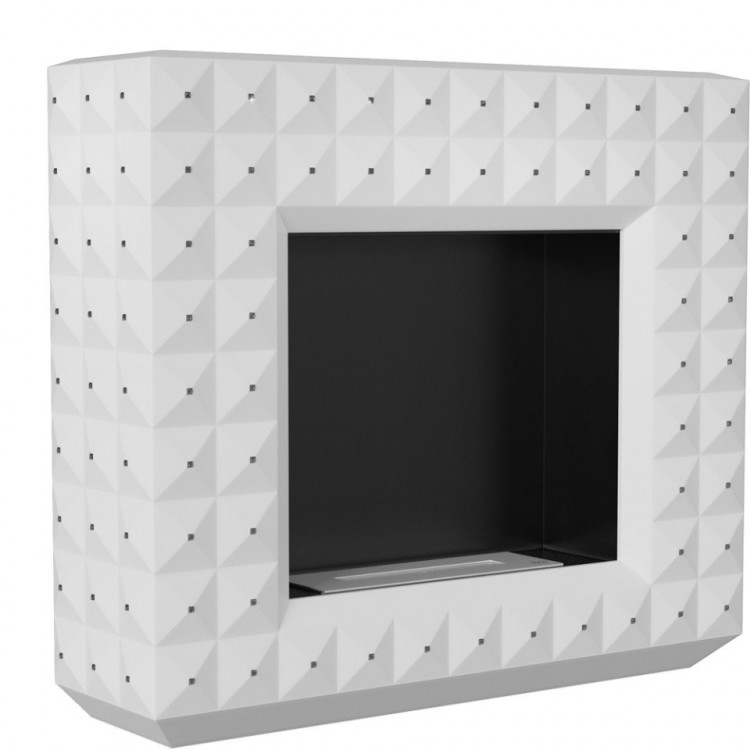 EGZUL biały z kryształami Swarovski MAT wolnostojący kratki Biokominek