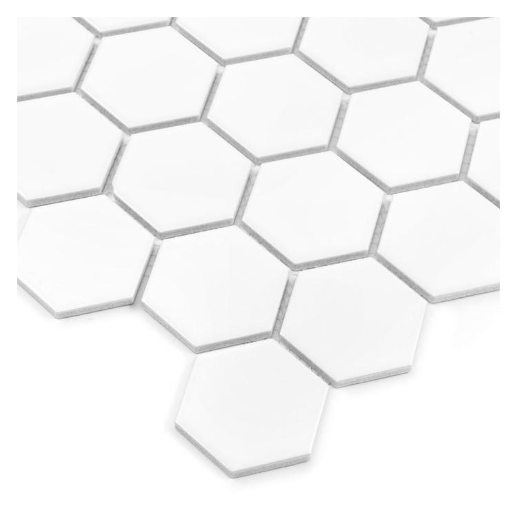 Hexagon White 51 matt Mozaika gresowa DUNIN