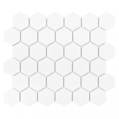 Hexagon White 51 matt Mozaika gresowa DUNIN