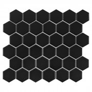 Hexagon Black 51 matt Mozaika gresowa DUNIN